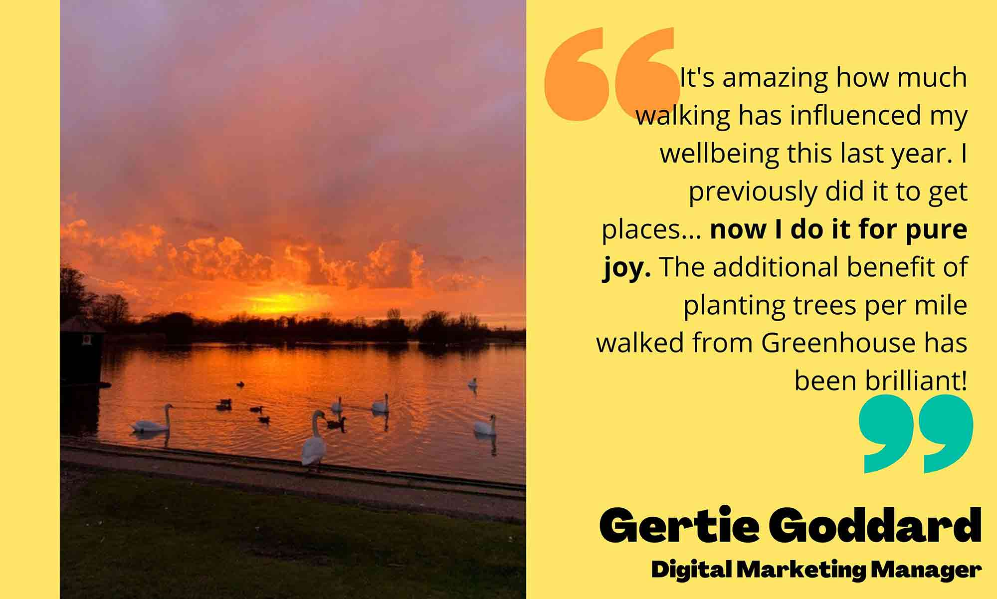 Image of sunset on left, quote from Gertie Goddard on right