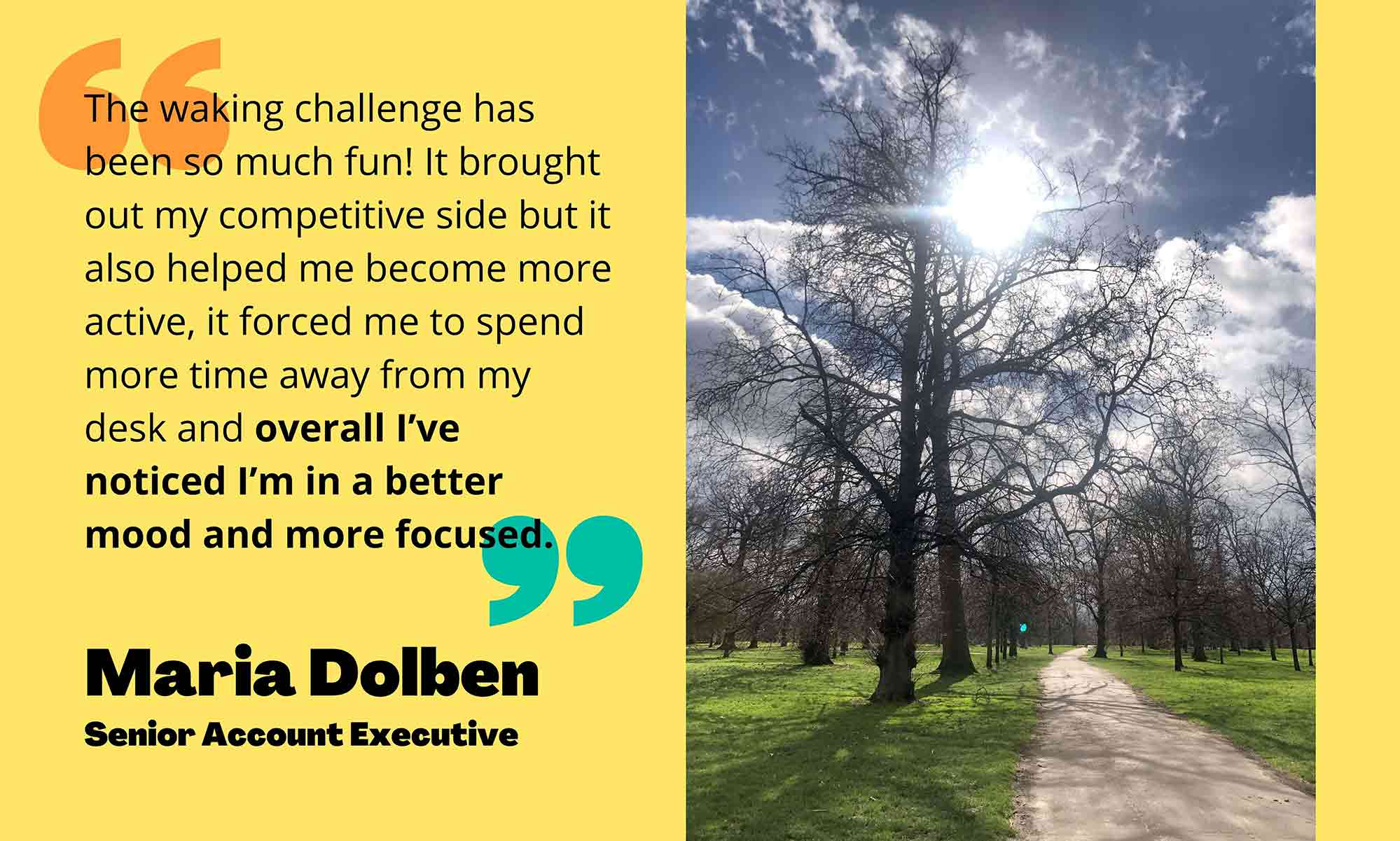 Quote from Maria Dolben on left side, picture of outdoors on right