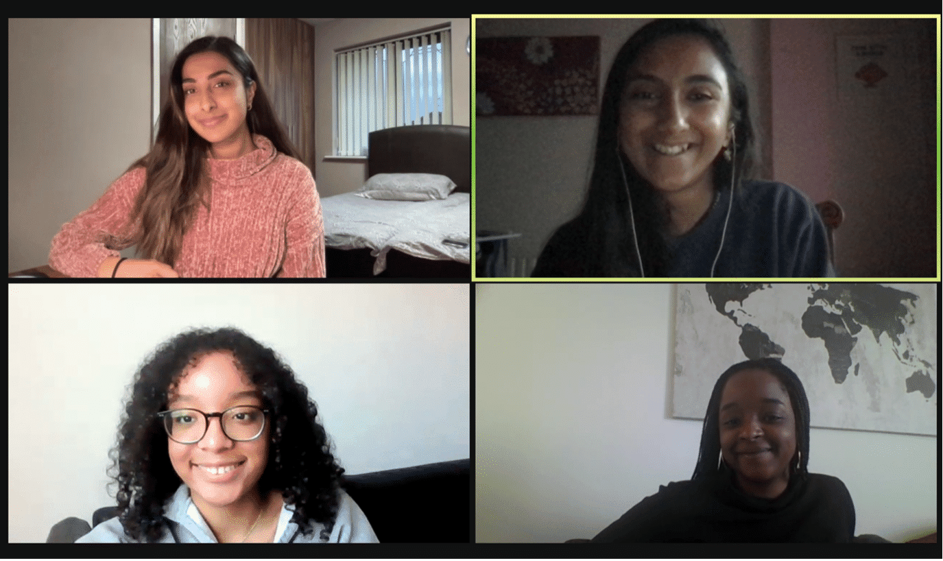 Screenshot of Zoom call with two Account executives and two board members from Black Girl Environmentalist