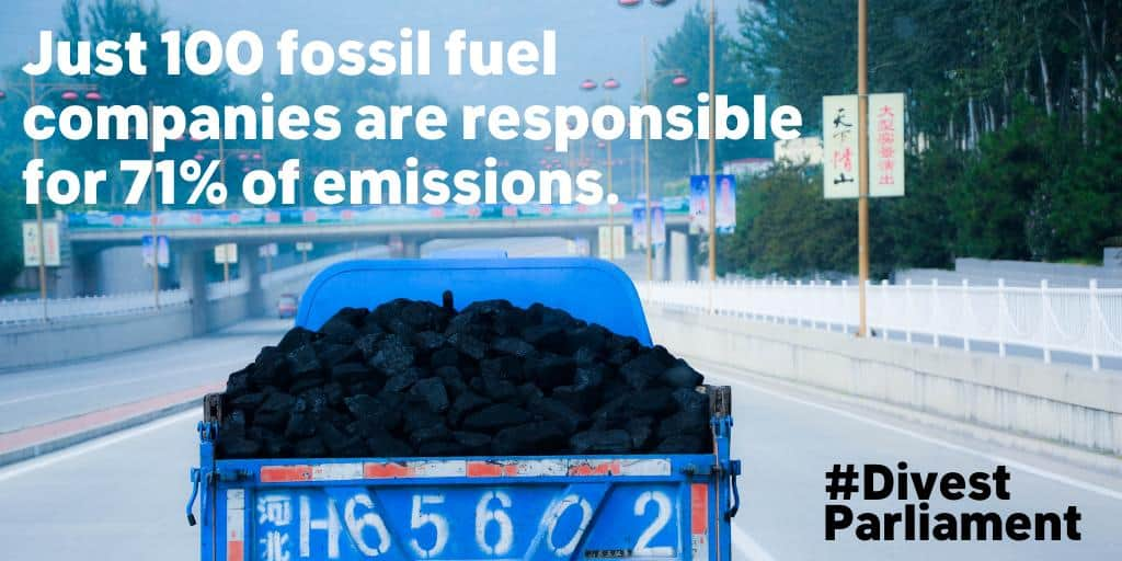 Divest Parliament: 100 fossil fuel companies are responsible for 71% of emissions.